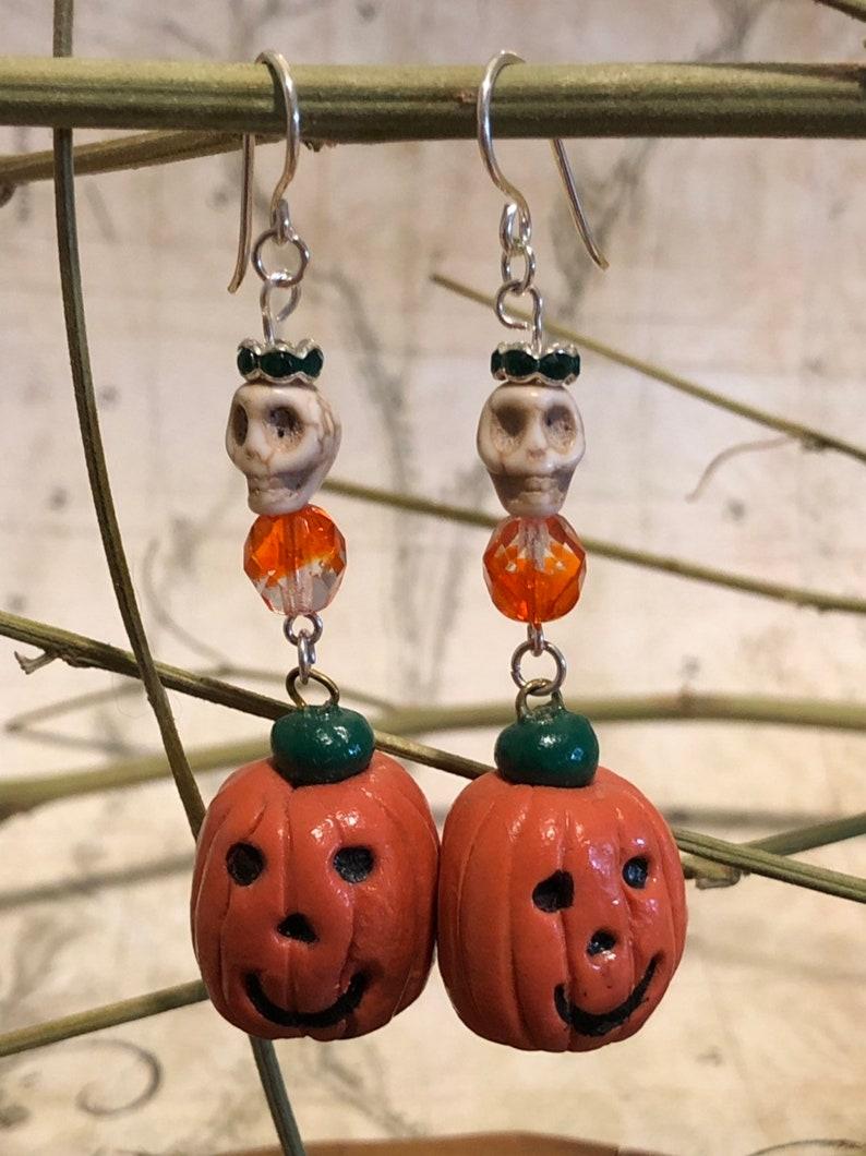 Halloween Pumpkin Earrings  Pumpkin Jewelry Halloween Gifts image 0