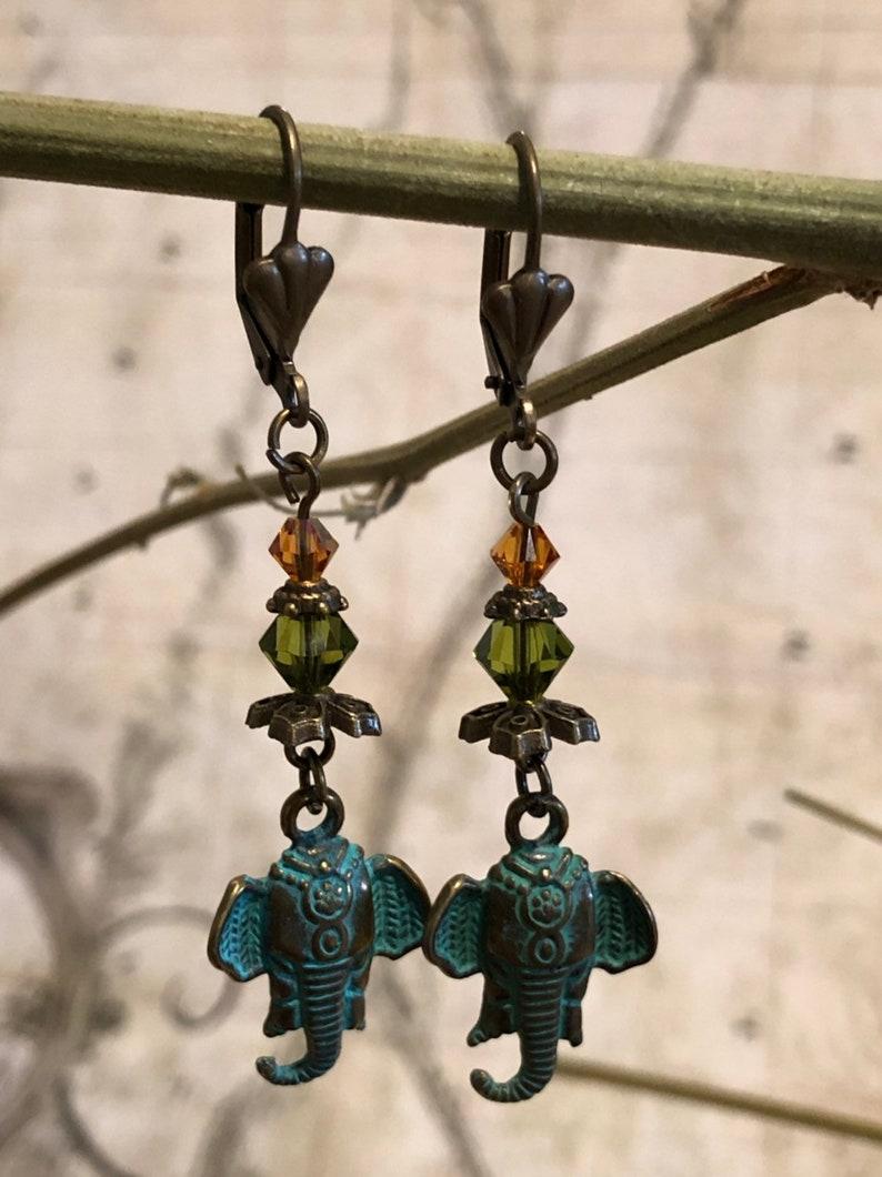 Elephant Earrings  Ganesh Jewelry Elephants OM Hindu image 0