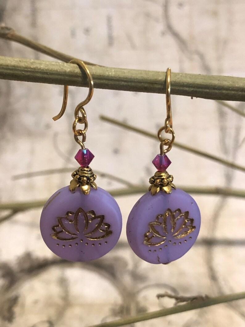 Purple Lotus Earrings  Lotus Jewelry Lotus Pose Yoga image 0