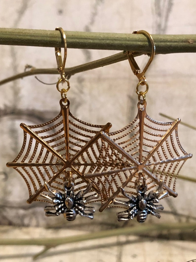 Halloween Spider Earrings  Spider Jewelry Spider Gifts image 0