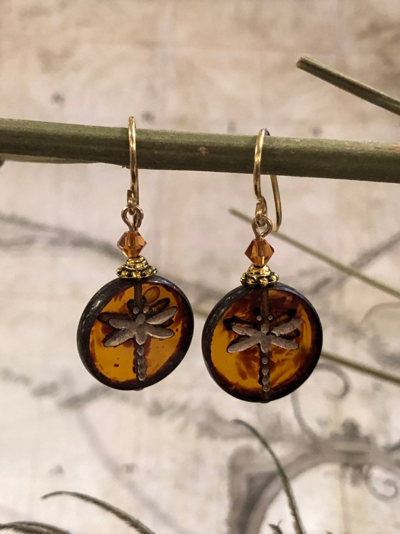 Dragonflies In Amber Earrings  Bug Jewelry  Dragonfly image 0