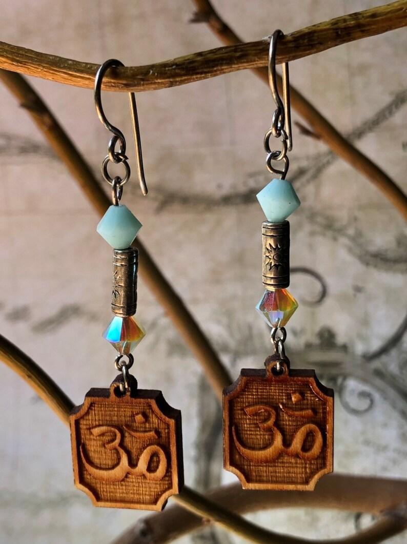 OM Meditation Earrings  Buddhist Jewelry Yoga OM Jewelry image 0