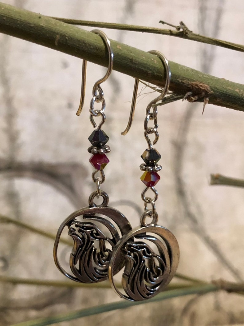 Howling Wolf Earrings  Wolf Jewelry Wolf Gifts Husky image 0