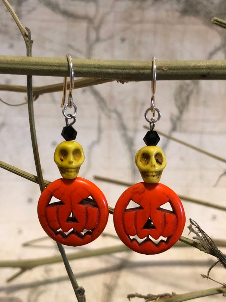 Halloween Gemstone Pumpkin And Skull Earrings  Pumpkin image 0