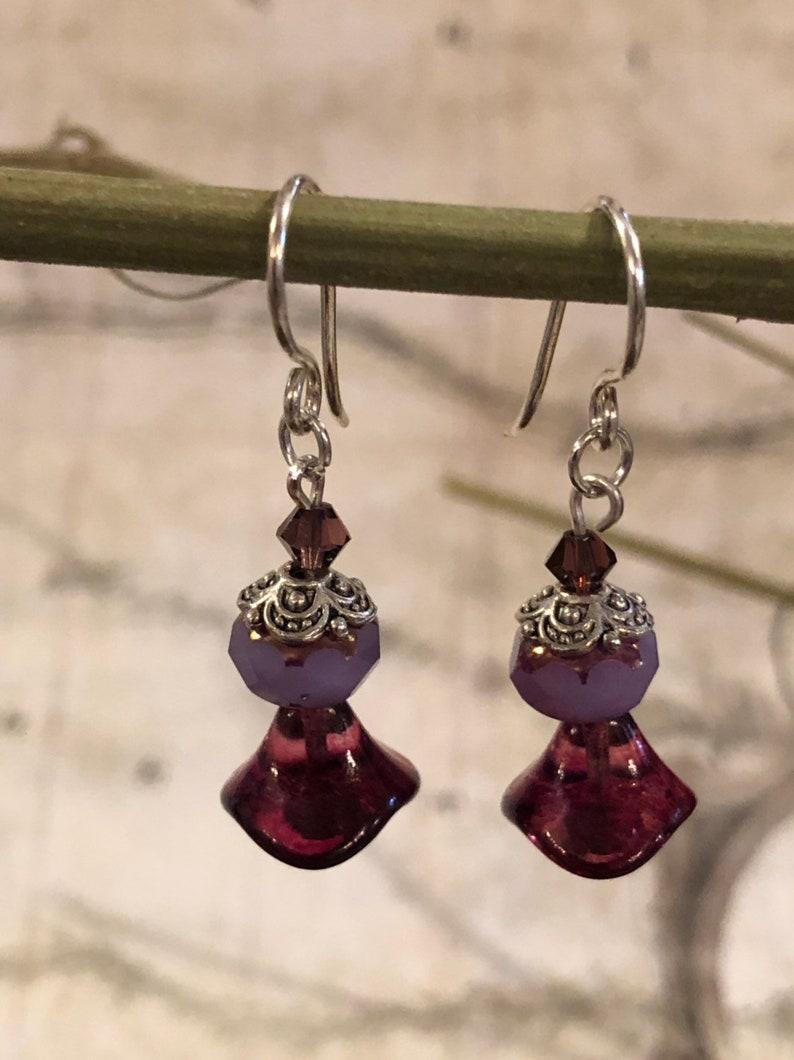 Purple Flower Earrings  Purple Jewelry Violet Lavender image 0