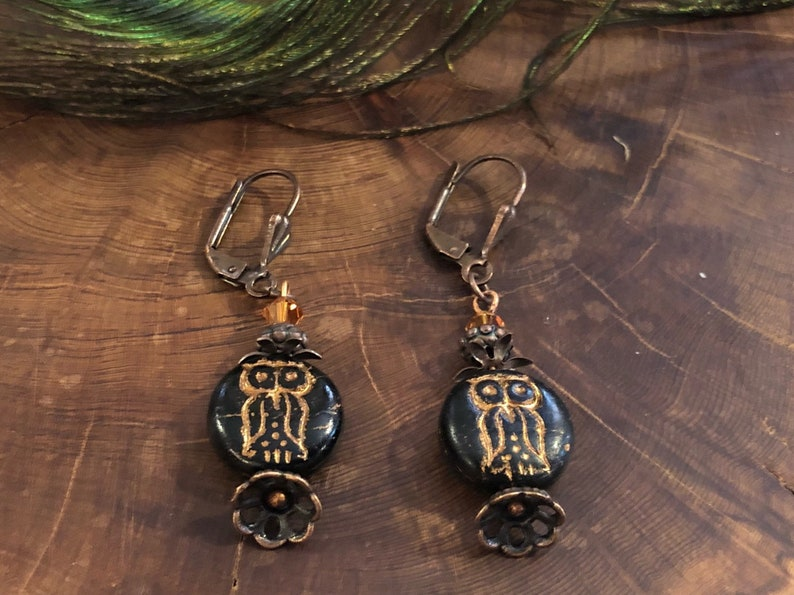Owl Earrings  Owl Jewelry Forest Gifts Bird Jewelry Owls image 0