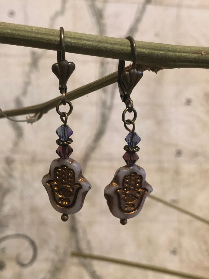 Hamsa Hand Earrings  Evil Eye Jewelry Protection From Evil image 0