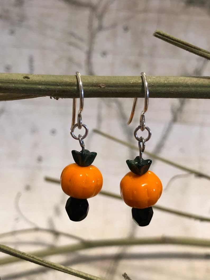 Petite Halloween Pumpkin Earrings  Pumpkin Jewelry Halloween image 0