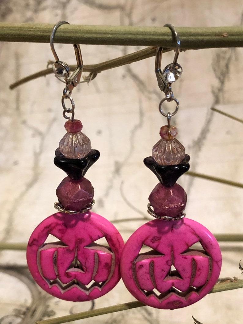 Pink Pumpkin Howlite Halloween Skull Earrings  Skull Jewelry image 0