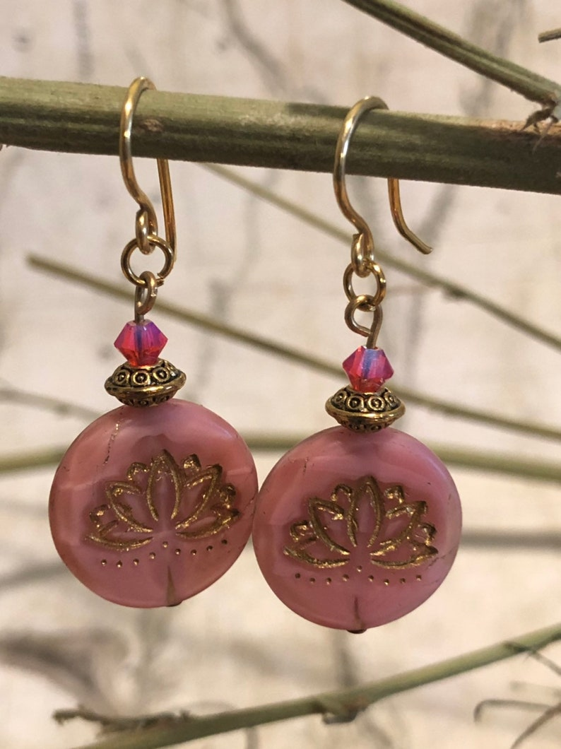 Pink Lotus Earrings  Lotus Jewelry Lotus Pose Yoga Jewelry image 0