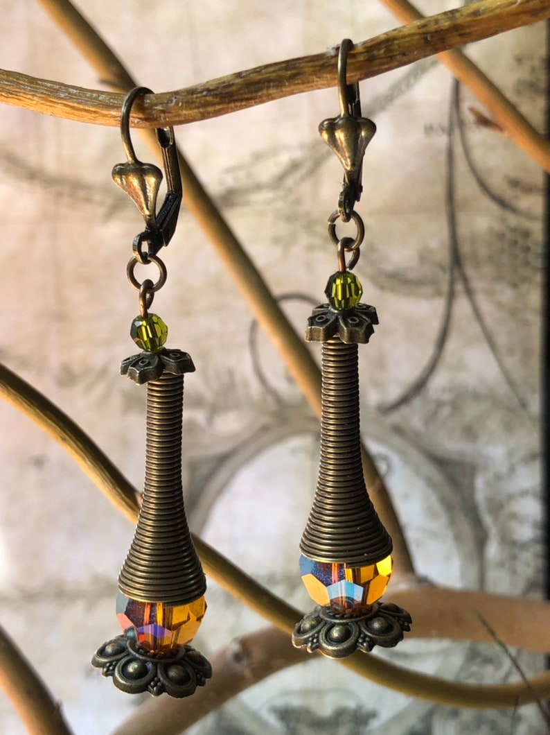 Earthtone Coil Earrings  Coil Jewelry Olivine Jewelry image 0