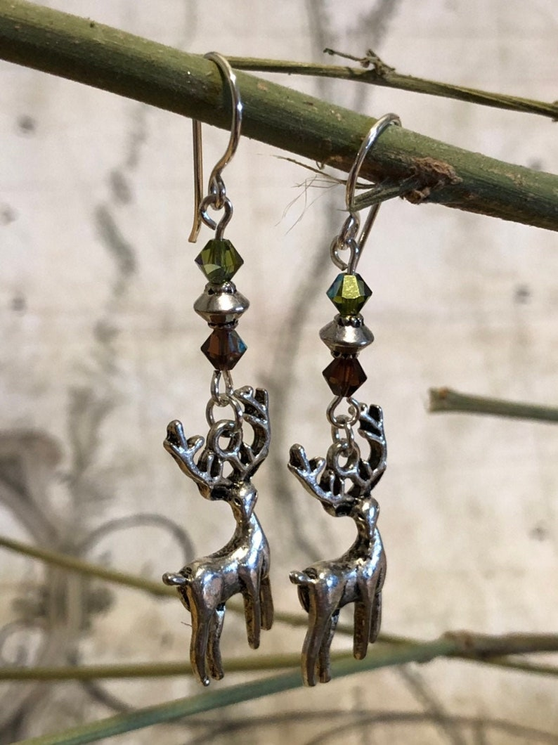 White Stag Earrings  Deer Jewelry Elk Gifts Moose Jewelry image 0
