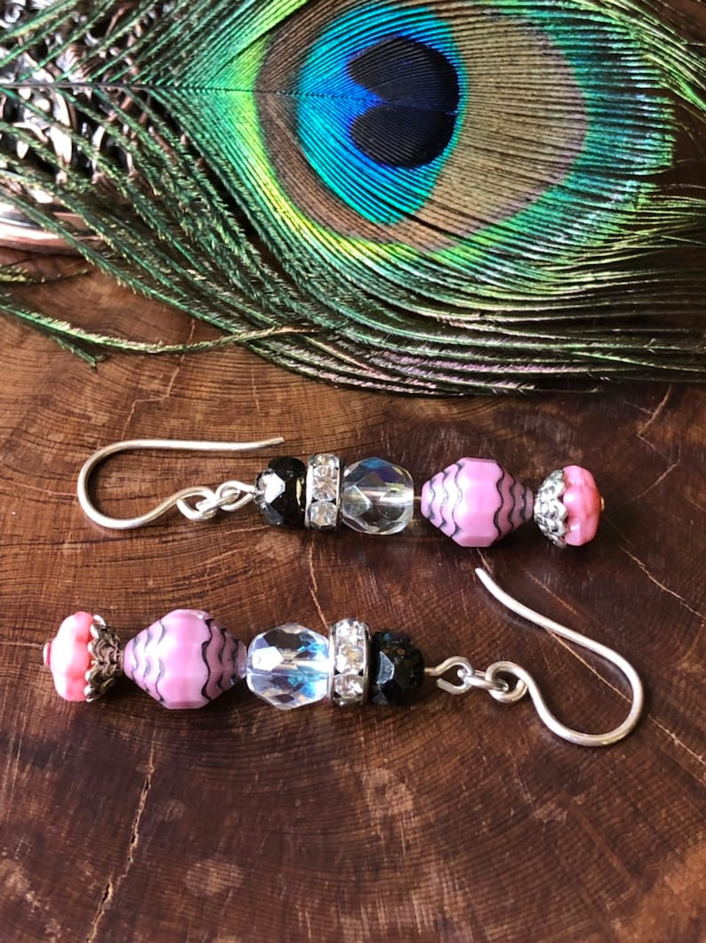 Pink And Black Earrings  Pink Jewelry Rose Blush Jewelry image 0