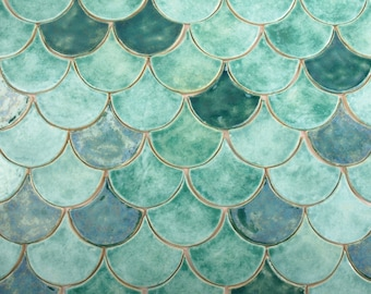 Fish scales tiles, unique tiles, original, unusual tiles