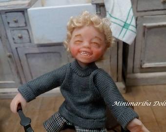 Minimariba Dolls - Child with tricycle dollhouse doll