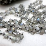 Labradorite Rosary Chain By The Foot, Beaded Gun Metal Black Wire 4.5mm Faceted Beads, Bulk Beaded Chain