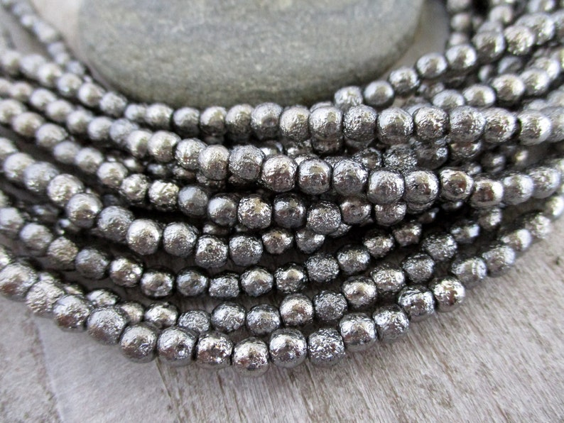 4mm Antique Chrome Etched Druk Beads Full Strand of 50 Round image 0