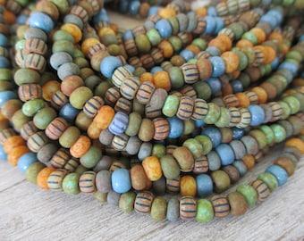 5/0 Desert Sky Matte Picasso Mix, 4.5mm Strand 164 Beads, Czech Glass Seed Beads, 1mm Hole