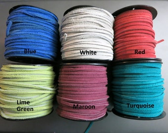 3mm Split Suede Lace, 3mm x 2mm, 5 Yards, Color Choices, Ready to Ship!