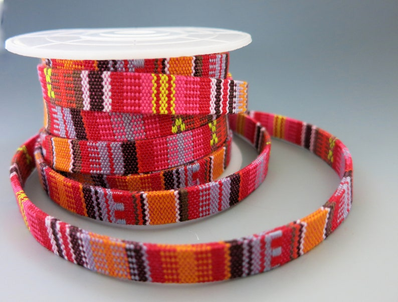 Woven Native Flat Cotton Cord Red Multicolors 10mm Wide By image 0