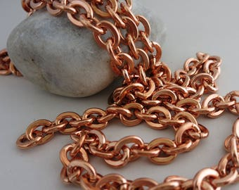 COPPER HEAVY CABLE Chain,  Large Link, 11 x 9mm, 6' to 20' Bulk Chain, Solid Copper Chain, No Clasp