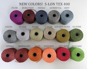 S-Lon Tex 400 Beading Cord, Kumihimo, Macrame, Crochet Cord, 0.9mm Diameter, 39 Yard Spool, Choice of Colors