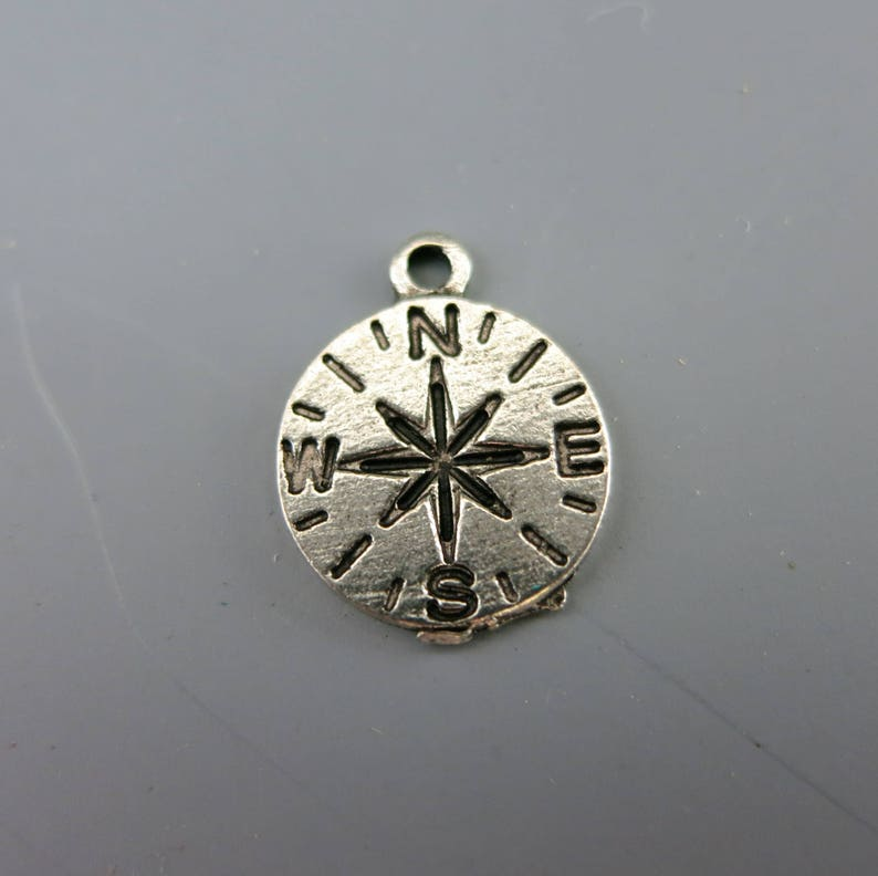 Compass Charm Cast Antique Pewter Choose 1 or more Made in image 0