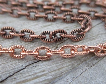 Copper SMALL Textured CABLE Chain, 4.3x2.92mm links, Bulk Chain - No Clasp, Choose Bright or Antique Copper, Item #TSC2910