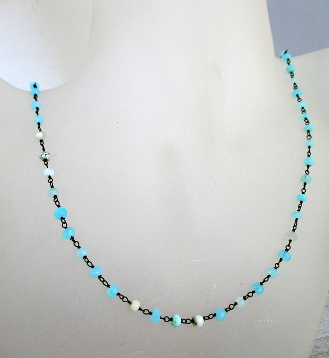 """Blue Opal Necklace or Bracelet, Optional Extender, Beaded Gun Metal Black Wire 4-4.5mm, Choose Length 6"""" to 36"""", Necklace Chain"""