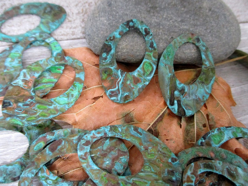 2 Verdigris Embossed Earring Charms Copper Patina Oval image 0