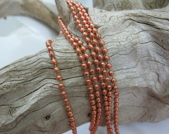2.4mm Bright COPPER BALL CHAIN, Copper Connector with each Foot of Chain, 3 ft to 60 ft Bulk Chain