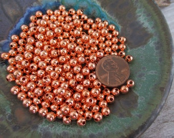 COPPER ROUND 4.8MM Beads 50 Pieces, Seamed Hollow bead, 1.5mm Hole, Ready to Ship, Made in US