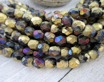 6mm Gold Inferno Czech Glass Beads, Etched Seed Beads, Full Strand of 25 Beads