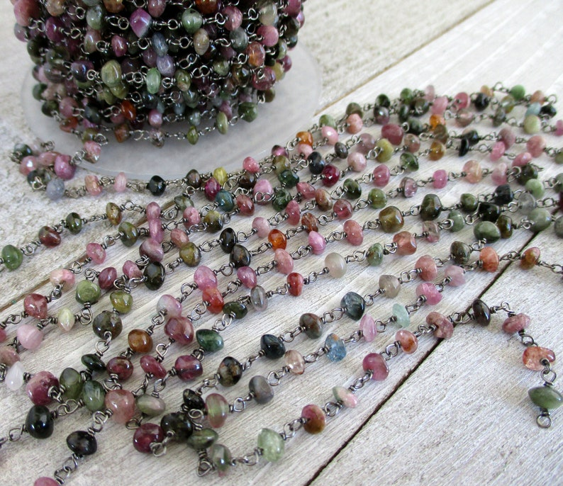 Multicolor Tourmaline Rosary Chain By The Foot Beaded Gun image 0