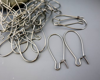 """Stainless Steel Kidney EAR WIRES,  1"""" length, 20 Pairs, Ready to Ship"""