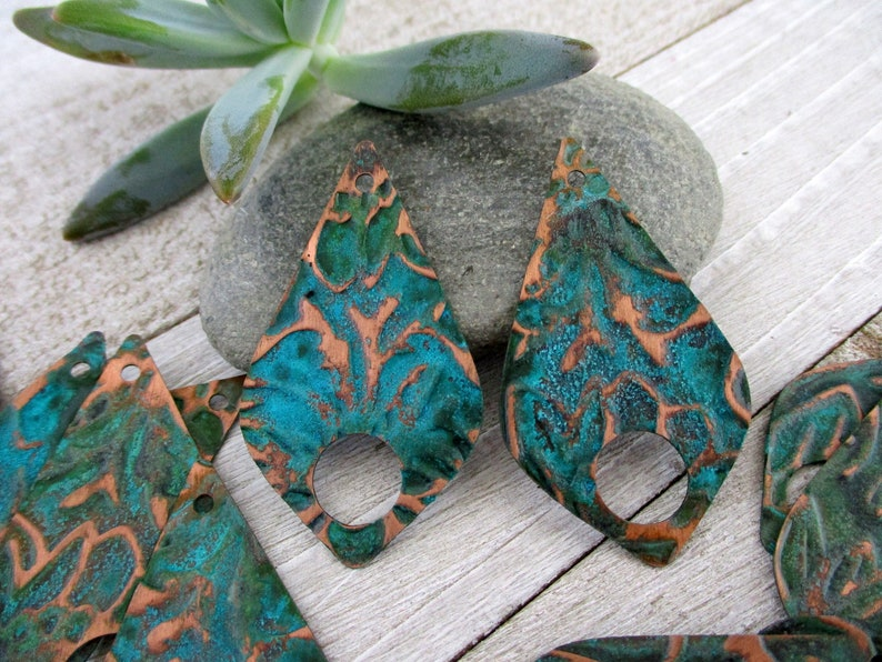 2 Copper Patina Earring Charms Verdigris Fern Embossed Copper image 0