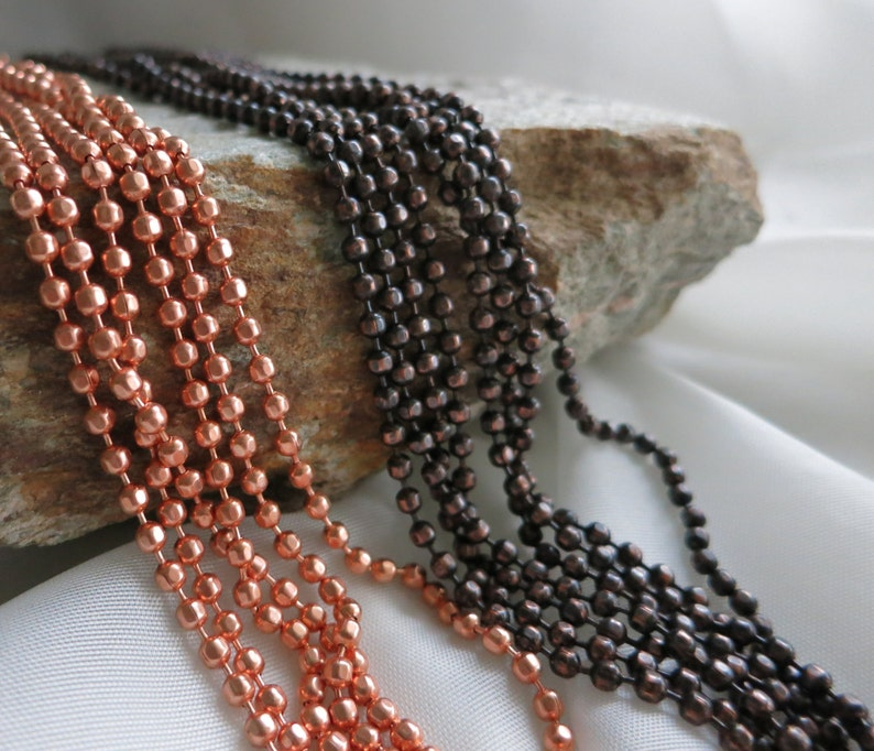 COPPER FACETED Ball Chain 3.2mm Bright Copper or Hand image 0