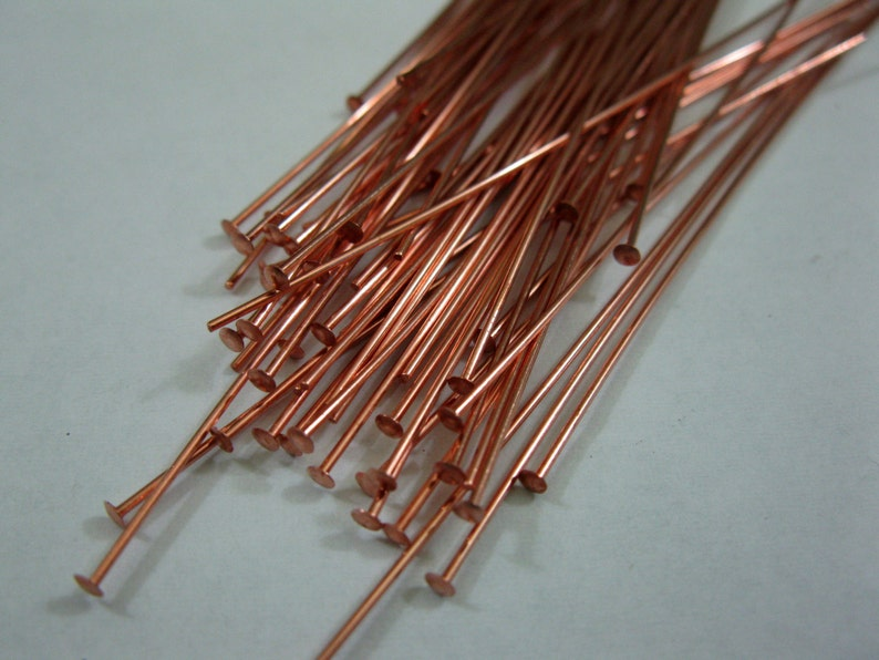 50 COPPER HEADPINS 24 gauge  3 inch length Bright Copper image 0