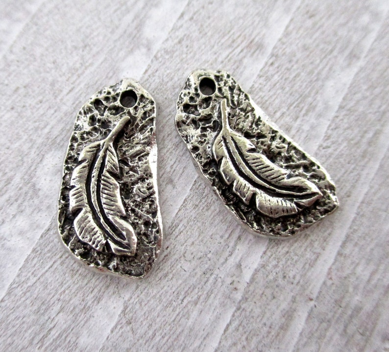 2 Feather Pewter Charms 18x9mm 1mm Hole Petroglyph Charms image 0
