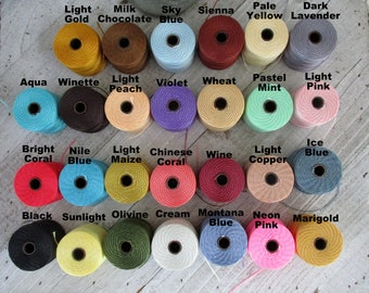 S-Lon Tex 210 Beading Cord, Mala Cord, Kumihimo, Micro Macrame, Crochet Cord, 0.5mm Diameter, 77 Yard Spool, Choice of Colors