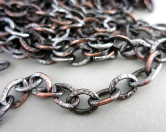 """ANCIENT RELIC Patina Chain, Copper Chain,  9.5x12mm links, Hand Altered Patina, Large Link Chain by the Inch, 6"""" to 36"""""""
