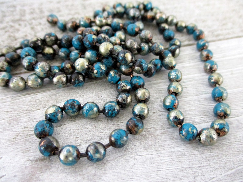 4.5mm Copper Ball Chain TURQUOISE TRAIL Patina Hand Altered image 0