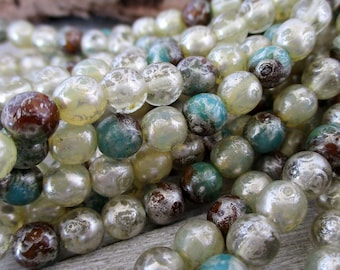6mm Ivory & Sea Green Druk Silver Picasso Czech Glass Beads, Round Beads, Full Strand 25 Beads