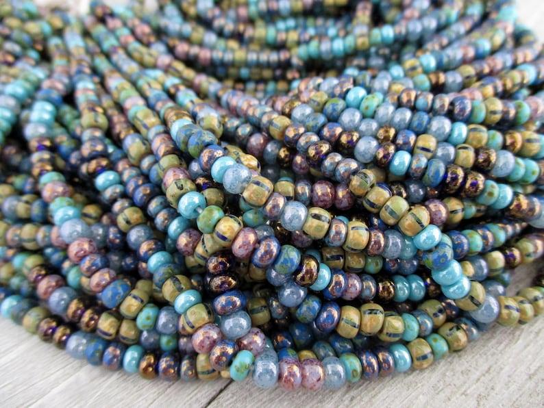 6/0 Skylark Bead Mix Full Strand 200 Beads 4mm Czech Glass image 0