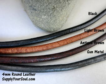 4mm Round Leather Cord 3 Feet, Black, Natural, Lt Brown, Antique Brown or Gunmetal, Boho Bracelet Leather, Ready to Ship!