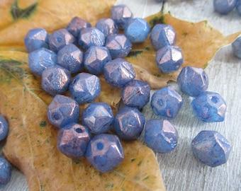 8mm Purple Luster English Cut Beads, 1 Strand of 20,  Czech Glass Beads, Boho Beads