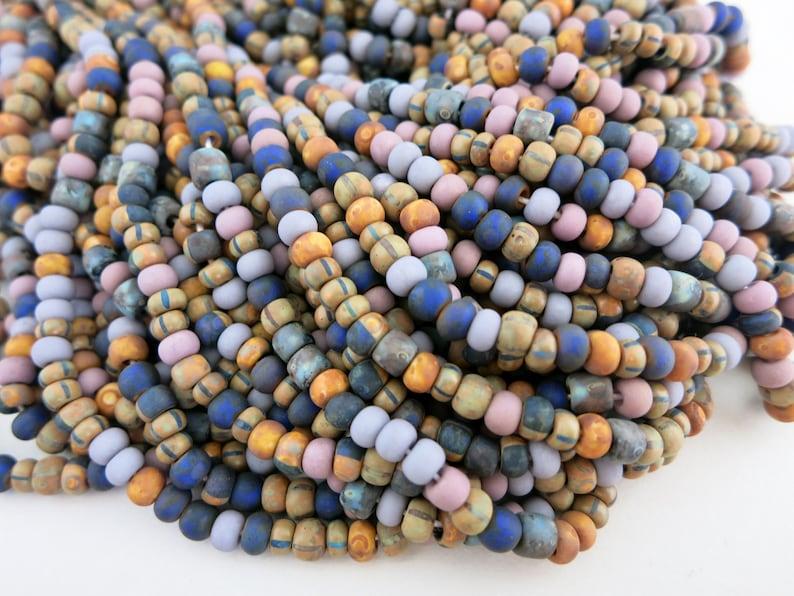 6/0 Purple Desert Flower Full Strand 200 Beads 4mm Matte image 0