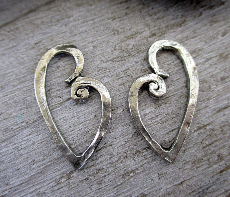 Antique Pewter Hammered Heart Charms 24x13mm Pair of Earring image 0