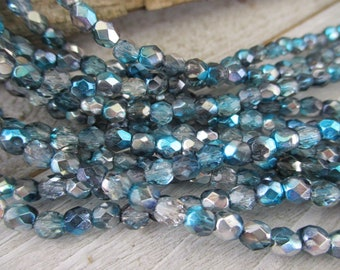 4mm Azure Celestial Etched Faceted Beads, Czech Glass Seed Beads, Strand of 50