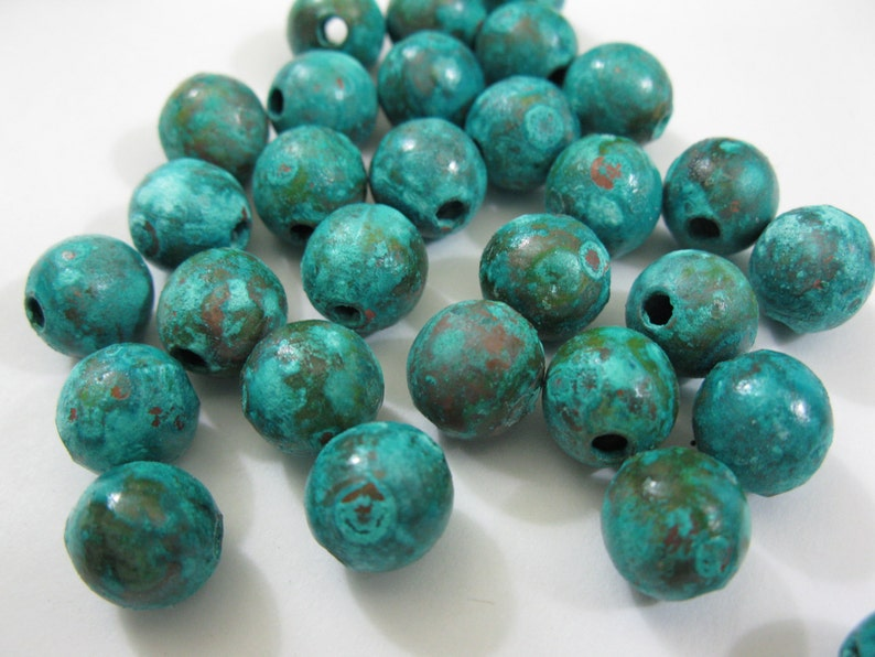 COPPER 9.5MM Beads 10 Pieces Verdigris and other Patinas image 0